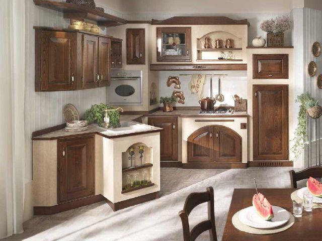 камин в итальянской кухне