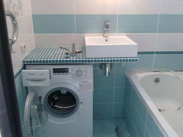 стиральная машина в интерьере ванной