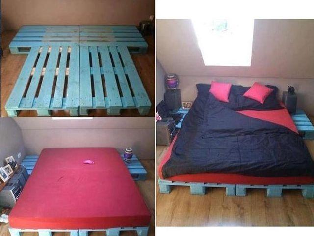 процесс создания кровати из поддонов