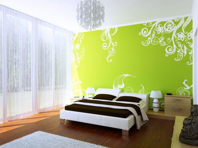 спальня модерн в светло-салатовых тонах