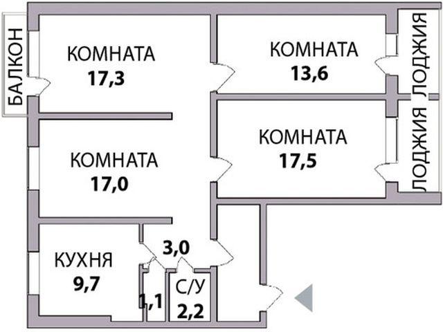 план четырехкомнатной квартиры в панельном доме