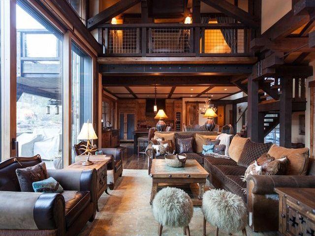 уютный интерьер в стиле шале