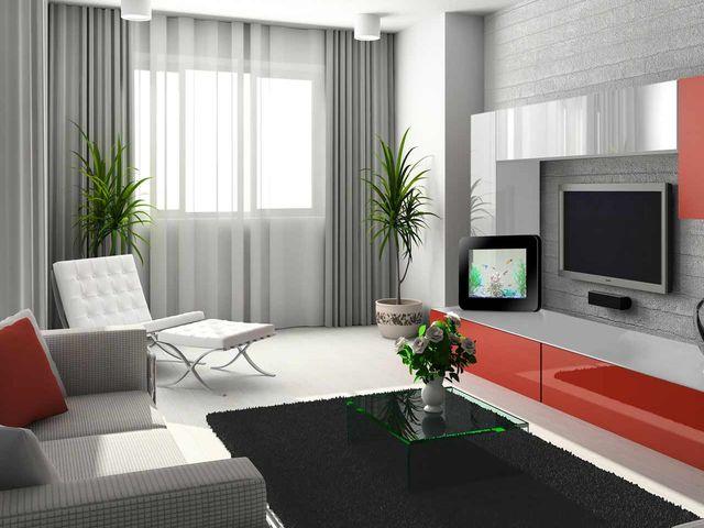 огромный телевизор в техно интерьере