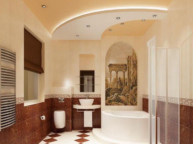 двухуровневый потолок в очень просторной ванной