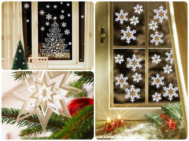 бумажные снежинки на окне