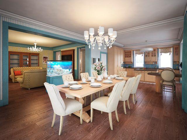 Аквариум в интерьере гостиной и кухни-столовой