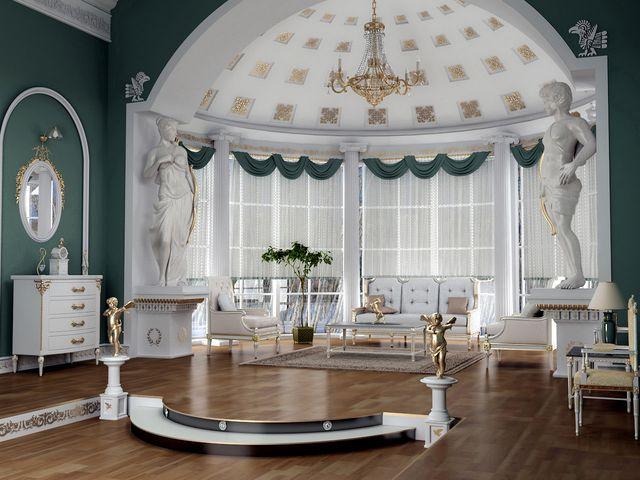 современная гостиная в античном стиле