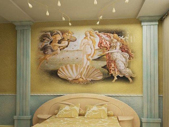 античный сюжет на стене интерьера ампир