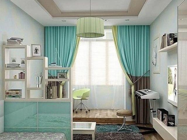 Светло бирюзовые шторы в интерьере