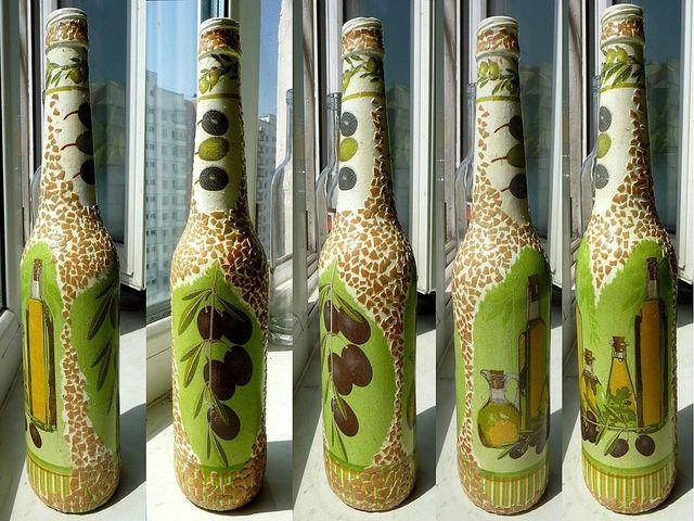 красивые бутылки в интерьере кухни