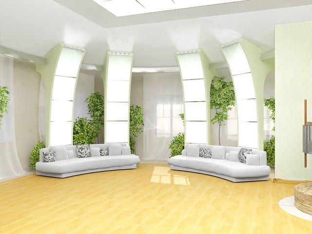 современная гостиная с колоннами