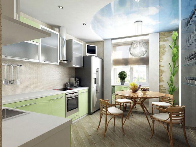стильная кухня, совмещенная с балконом