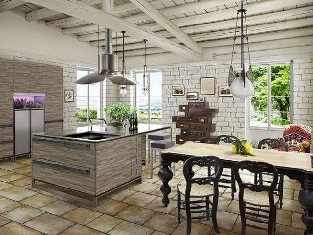 просторная кухня с каменной отделкой