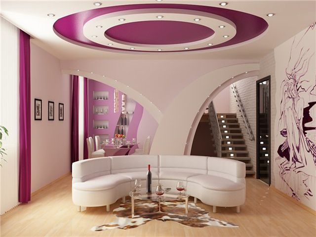 красивый гипсокартоновый потолок в гостиной