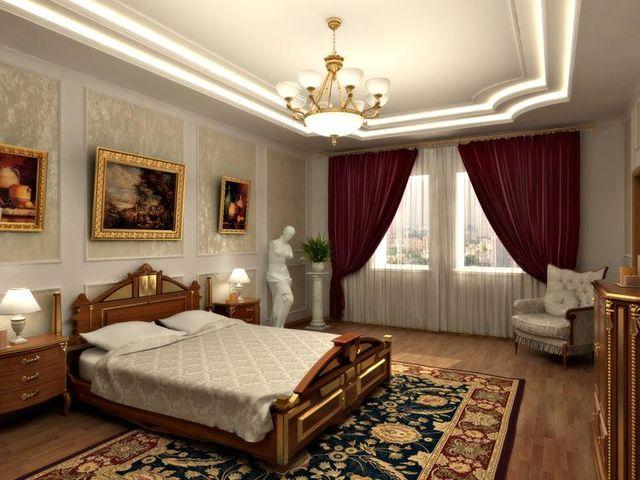 современный многоуровневый потолок в стиле ренессанс