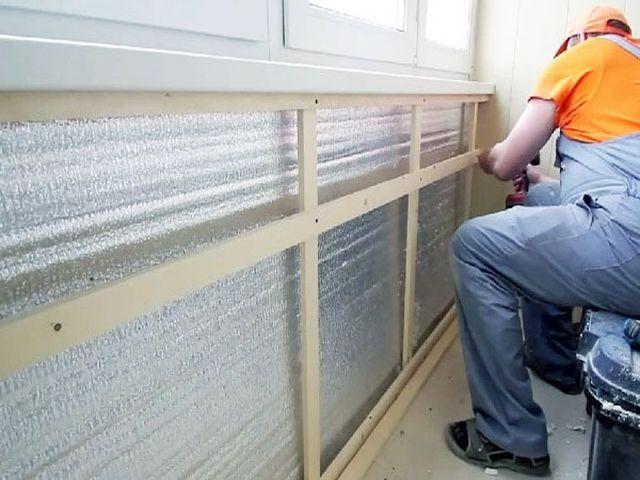 процесс утепления балкона