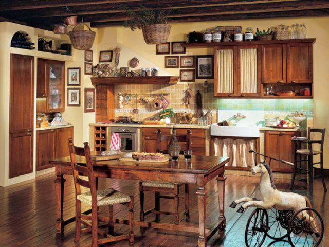 деревянная мебель в тосканском интерьере