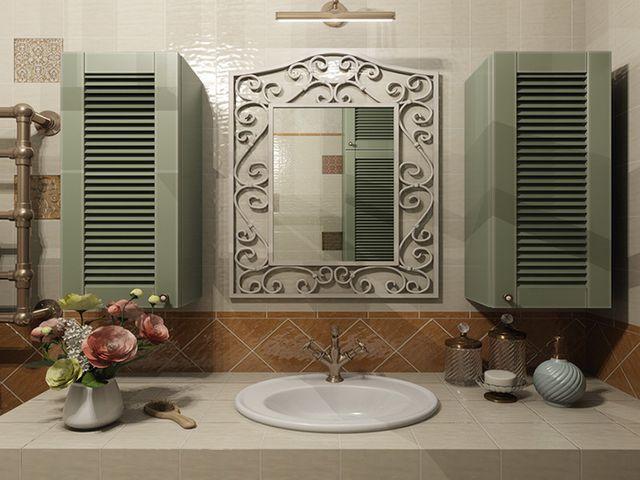 зеркало в кованой раме в тосканском интерьере