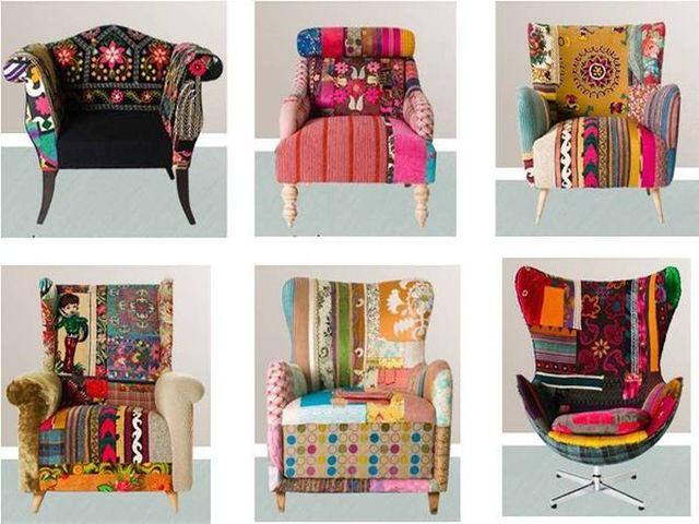 стул или кресло в стиле пэчворк