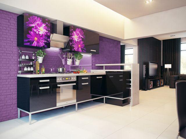 фиолетовые стены на кухне