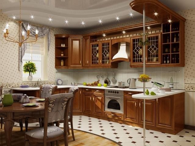 моющиеся обои на классической кухне