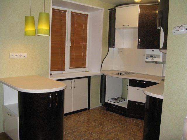 встроенный шкафчик под подоконником на кухне