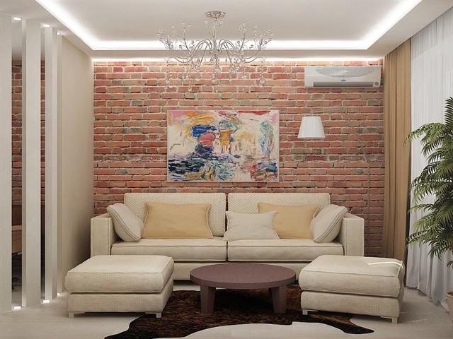 кирпичная стена в конструктивном интерьере