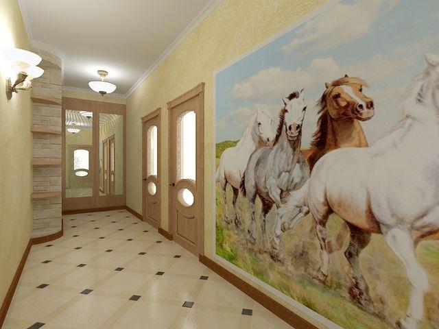 вертикальные рисунки на стенах узкого коридора