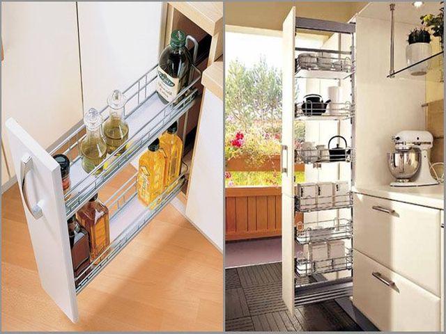 узкая полка карго в интерьере кухни