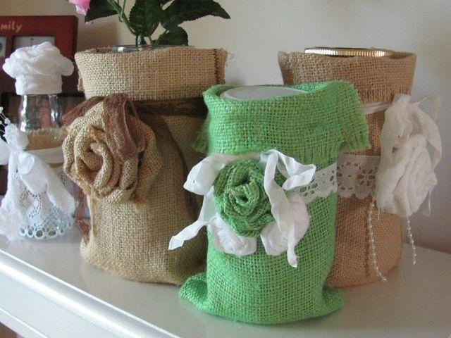 Элементы декора, обшитые мешковиной