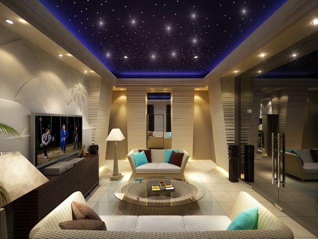 декор с подсветкой в гостиной
