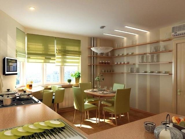 римские шторы на кухне