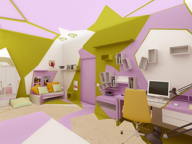 комната в стиле кубизм