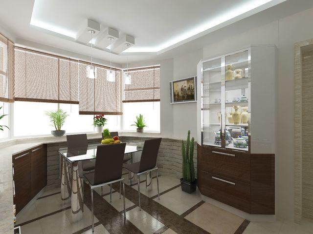 просторная кухня с эркером