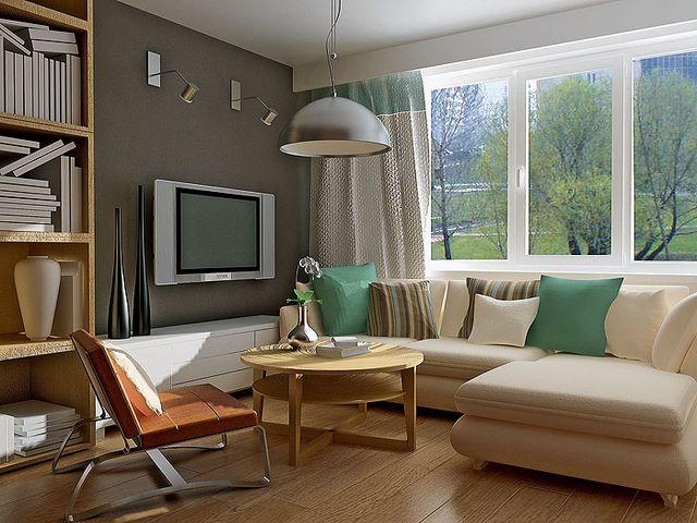 угловой диван в миниатюрной гостиной