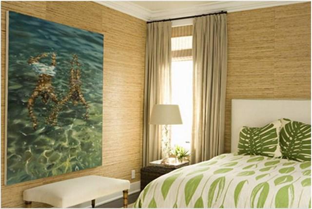 Отделка спальни бамбуковыми обоями