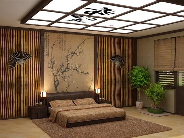 Современный интерьер спальни азиатского направления