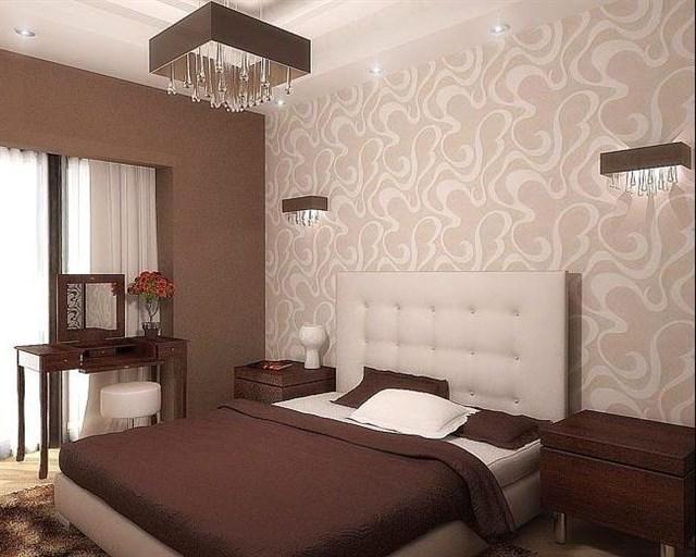 Разделение стен темными и светлыми обоями в интерьере спальни