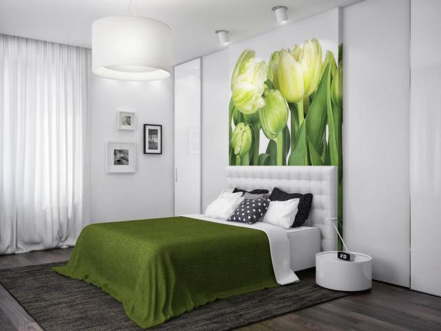 Сочетание мебели с фотообоями в спальне