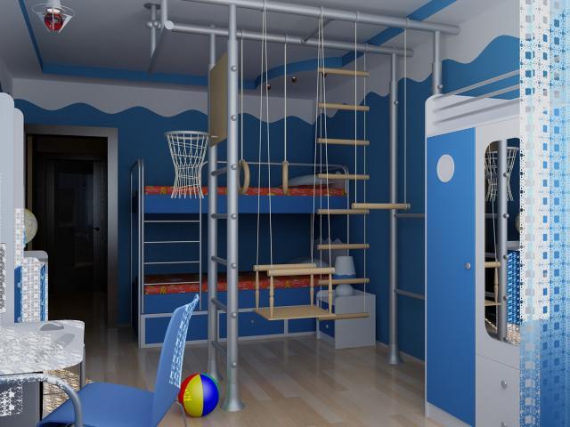 Спортивная зона в детской комнате
