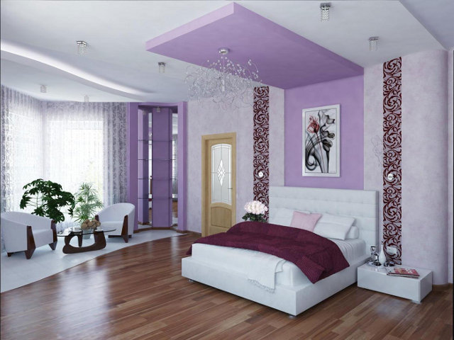 Зонирование ниши в спальне комбинированными обоями