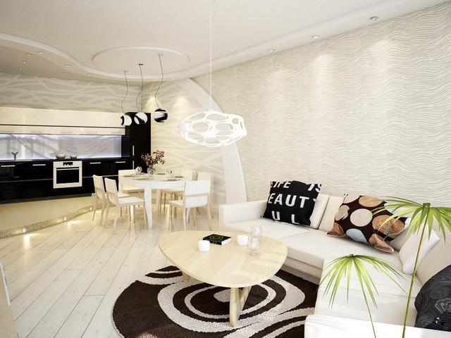 Дизайн зон гостиной по совместительству столовой