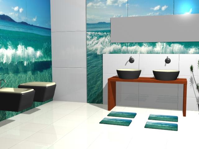 Плиточная стена с морским пейзажем