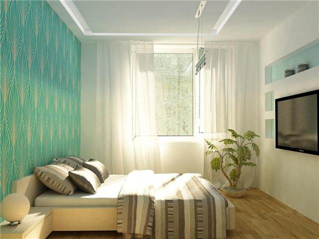 Бирюзовые тона для небольшой спальни
