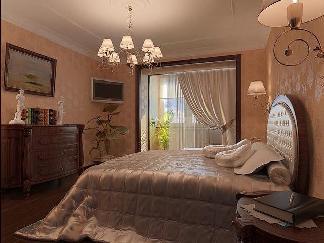 теплые тона в спальной комнате, совмещенной с лоджией