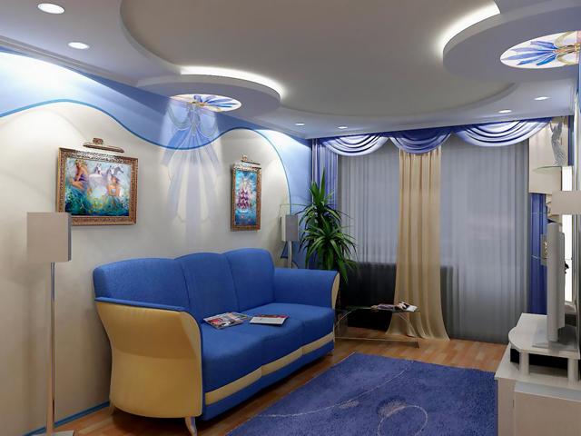 Подвесной потолок в проходной комнате