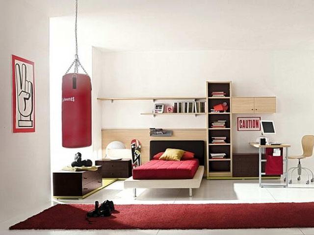 Дизайн детской комнаты для мальчика до 9 лет с боксерской грушей
