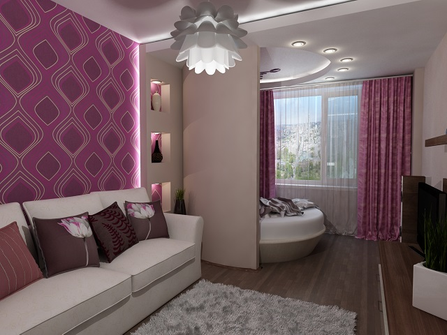 Красивая гостиная и спальня