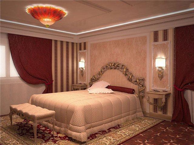 Красивая прямоугольная спальня