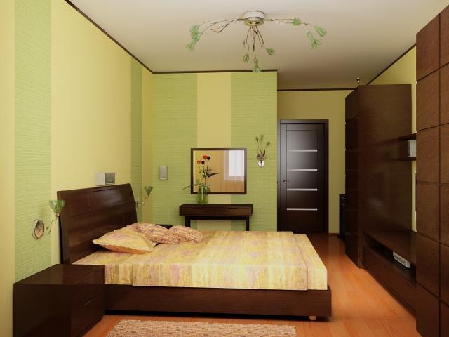 Зонированная цветом, светом комната